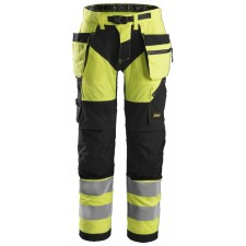 Snickers 6932 FlexiWork Class 2 Hi Vis Holster Pocket Trousers